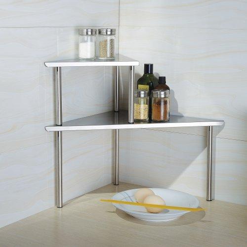 Cook N Home 2-Tier Stainless Steel Corner Storage Shelf Organizer, Triangle, Triangle Stainless Steel