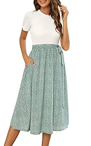 Zattcas Church Dresses for Women Summer Work Dress with Sleeves White Green XL