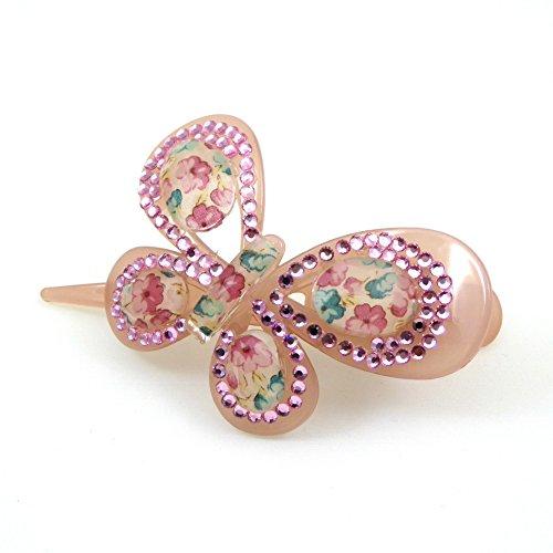 Rougecaramel - Accessoires cheveux - Pince bec cheveux papillon acrylique et strass - rose