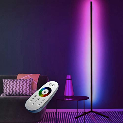 Lámpara De Pie Esquina LED,Lámpara De Pie Decorativa Minimalista Nórdica,Luz Nocturna Regulable,Lámpara De Decoración Del Dormitorio,Luz Ambiental Moderna,Cambio De Color Con Control Remoto RGB,Negro