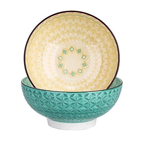 vancasso Tulip Juego de Cuencos 2 Piezas Porcelana Tazón Grande 1200ML Mandala, Cuenco para Sopa, Frutas, Ensalada, Ramen Bowl Porcelana Patrón de Grabado Externo, Verde, Morado
