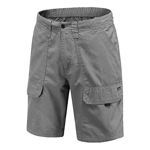 VAYAGER Men's Cargo Shorts 100% Cotton Lightweight Multi Pocket Casual Outdoor Hiking Shorts (Grey M)