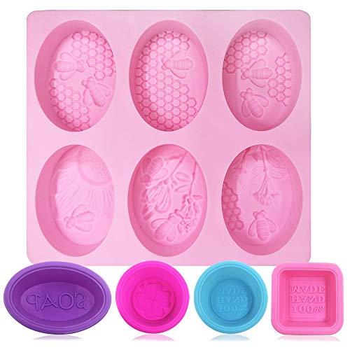 FineGood - Stampi per sapone, 5 pezzi, in silicone per uso alimentare, morbidi, per torte, muffin, candele, per fai da te, colore: rosa, blu, rosso rosa, viola