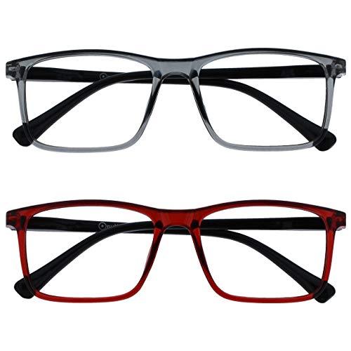 Opulize Ink Pack 2 Gafas De Lectura Grande Gris Oscuro Rojo Hombres Mujeres Bisagras Resorte RR4-7Z +2,50
