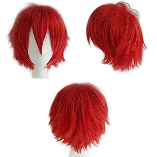Pelucas Anime Cosplay con Flequillo Rojas Cortas Lisas Mujer Hombre Pelo Se Ve Natural Peluca Sintética Resistente al Calor para Disfraz Personaje Cosplay y Fiesta Short Wig (Rojo)