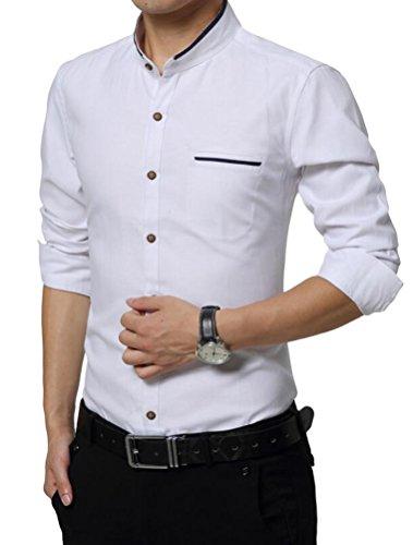 Vogstyle Hommes Chemise Slim Fit Manches Longues Model Basic Business Loisirs Chic décontracté Blanc M