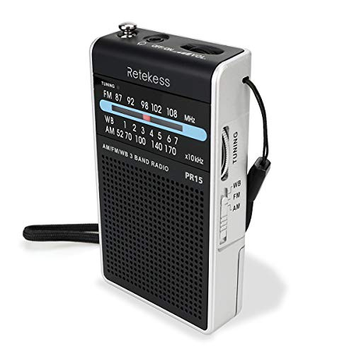 Retekess PR15 Pocket NOAA Weather Radio, AM FM Weather Radio Portable, Little Transistor Radio Powered by AAA Battery for Walking, Camping (Silver Black)