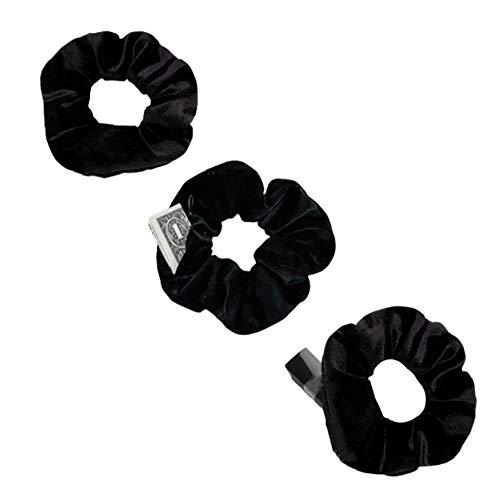 RTTYOA Hidden Zipper Scrunchies, Secret Pocket Scrunchy, Velvet Hair Ties Bracelet, Earbuds Key Money Chapstick Storage Bag, Elastics Hair Band for VSCO Girls Women, Smart Ponytail Holder (Style1)