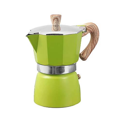 Ekspres do kawy aluminium Mocha Espresso filtr filtracyjny Drewniany Uchwyt Ekspres do kawy Moka Pot 1 Cup / 3 kubek / 6 szklanki Płyta kuchenna maszyna do kawy (Color : Green 150ml)