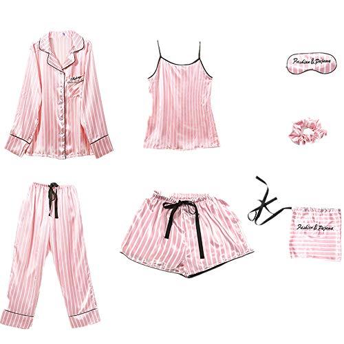 Pijama de seda de hielo para mujer de primavera y verano, de 7 piezas, cómodo y de moda