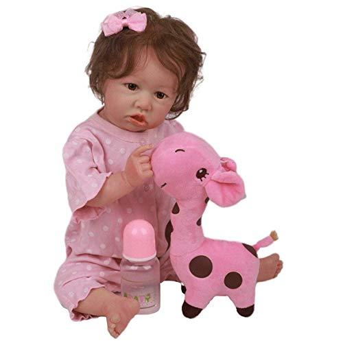 Reborn Baby Dolls Niño Niña 58Cm 23 Pulgadas Muñeca De Cuerpo De Silicona Completa Realista Hecho A Mano Recién Nacido Reborn Niño Bebés Imán Chupete (12#, Ojos Azules)