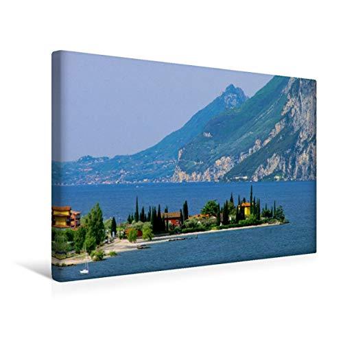 CALVENDO Premium Textil-Leinwand 45 cm x 30 cm quer, Gardasee | Wandbild, Bild auf Keilrahmen, Fertigbild auf echter Leinwand, Leinwanddruck: Venetien Orte Orte