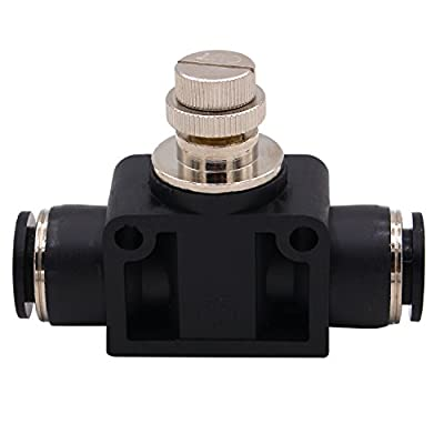 """SCF-3/8 Air Flow Control Valve with Push-to-Connect Fitting, in-Line Speed Controller Union Straight - 3/8"""" Tube OD x 3/8"""" Tube OD from DERNORD"""