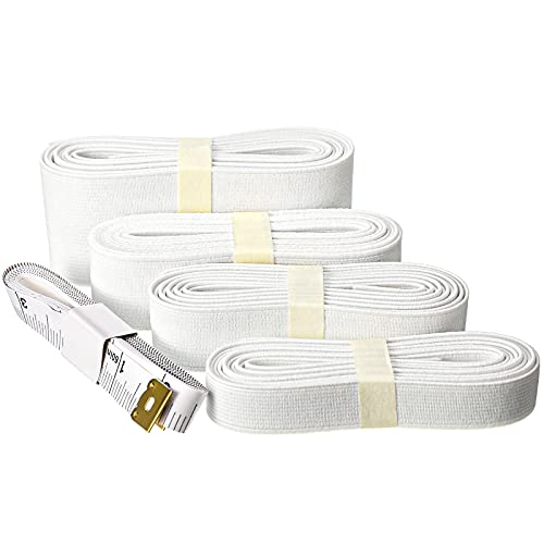 8 Yards 1/2 Inch, 3/4 Inch, 1 Inch, 1.5 Inch Wide Flat Elastic Band with 2 Sided Tape Measure Sewing Clothing Accessories for Nylon Webbing Garment Trousers Costumes Crafts DIY (White)
