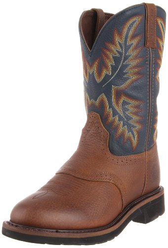 Justin Original Work Boots Men's Stampede Work Boot,Copper Kettle Rowdy/Steel Blue,7.5 D US