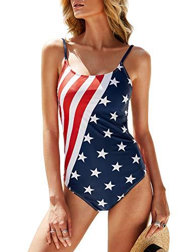 imesrun Damen Badeanzug Patriotische Einteiler hoher Schnitt USA-Flagge Bauchkontrolle Badeanzug rückenfrei Bademode - Rot - Small