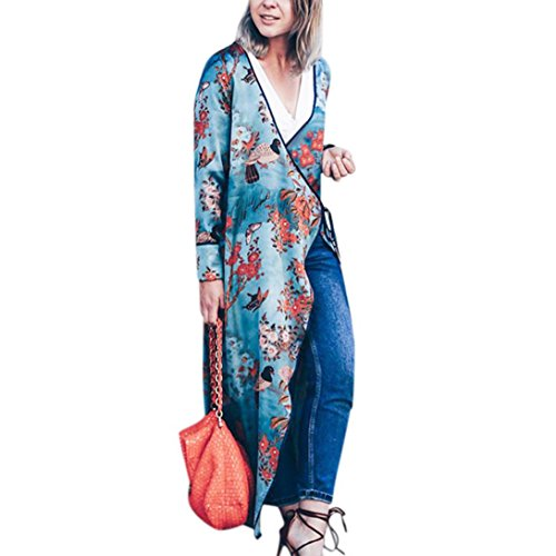 Sannysis Cardigan Largo Floral Bohemio de Las Mujeres Tops de Chal de Gran tamaño de otoño Primavera Outwear Mujeres Kimono Largo Chaqueta con cinturón (M, Flor Azul)