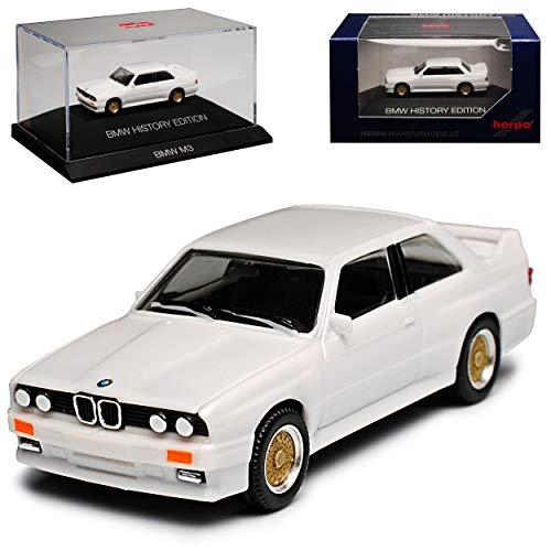 B-M-W 3er E30 M3 Coupe Weiss 1982-1994 H0 mit Sockel und Vitrine 1/87 Herpa Modell Auto