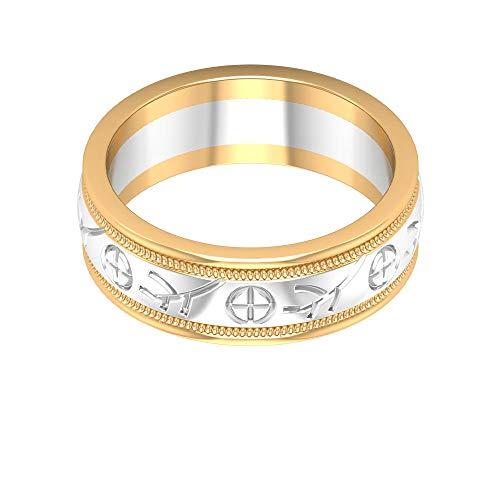 Einzigartige solide Gold-Mix Metall Frauen Hochzeit Verlobungsring, Zwei-Tone Statement Braut Jahrestag Sacking Ring, Breite Ewigkeit Mädchen Büro Tragen Ring Set, 14K Weißes Gold, Size:EU 48