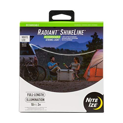 Nite Ize Radiant Wiederaufladbare ShineLine Schnurlose Lichterkette für Camping, Van Life, Zuhause oder Fahrrad, Indoor/Outdoor Lichtschlauch Weiß/Weiß LED