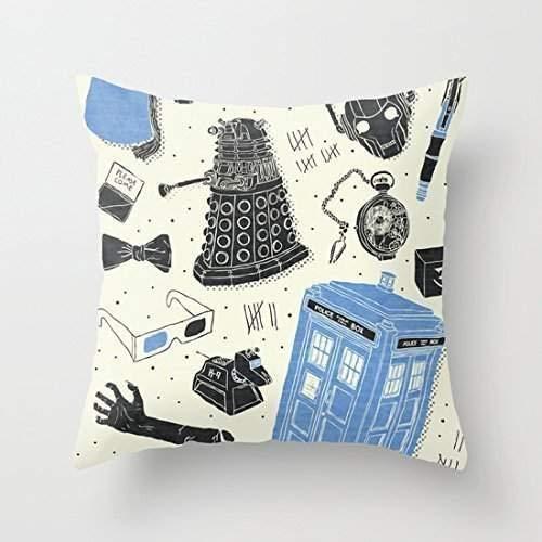 Funda de cojín Decorativa de Lino de algodón Cuadrado, Funda de cojín, artefactos, diseño de Doctor Who
