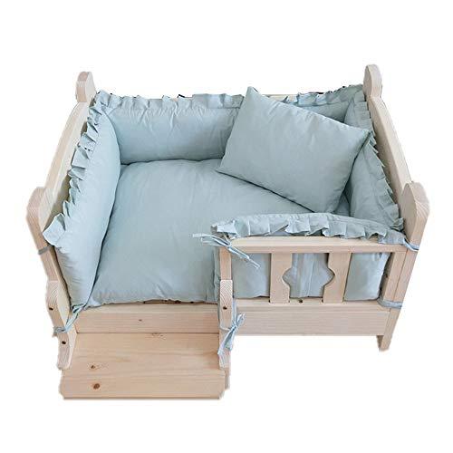 Madera cama del animal doméstico cama del perro cama del gato con extraíble y lavable Nido PP algodón cojín del animal doméstico, ideal for todos los gatos perros pequeños de madera Nido de mascotas f