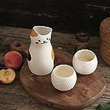 XHBH Set de Sake japonés portátil 3pcs Cat Cerámica Flagon Liquor Taza 1 Pot 2 Tazas Home Bar Saze Steke Sets 4.16 (Color : Cat)