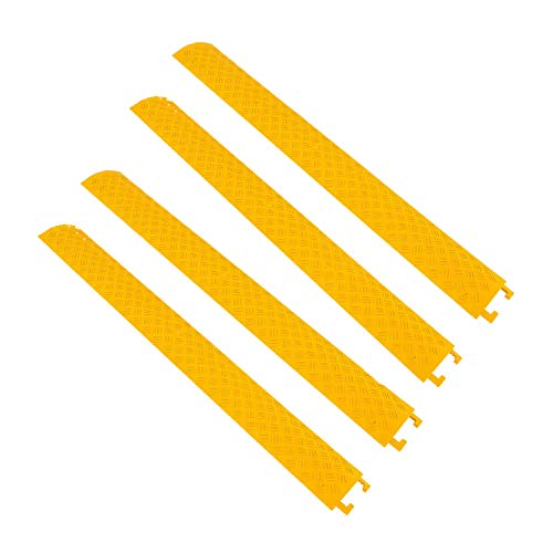 Pyle 40 Inch Cable Wire Protector Cover Ramp Track w/ Interlocking System for Indoor Outdoor Floor Extension Cord Safety Concealment, Yellow (4 Pack)