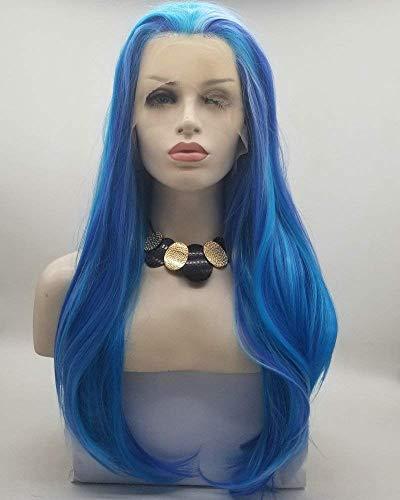 Blauwe synthetische lange haren natuurlijke golf vriendelijke synthetische Lace Front pruiken voor vrouwen dames cosplay partij