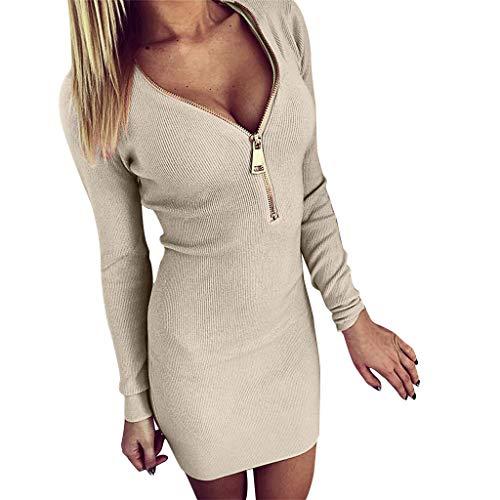 LijunMimo Mode Sexy Damen Neuheit Reißverschluss Tief V-Ausschnitt Bodycon Kleider Lange Ärmel Schlank Einfarbig Paket Hüfte Fest Mini Kleid Elegant Abendkleid
