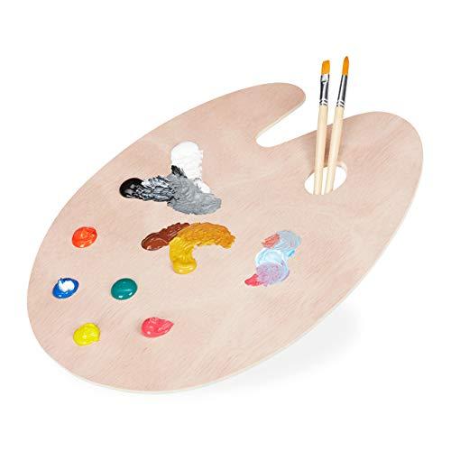 Relaxdays Paleta de pintura de madera, artistas, acrílicas, acuarelas y acuarelas, con agujero de agarre, 40 x 30 cm, color natural