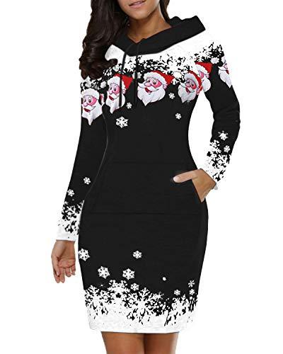 VONDA Damen Hoodie Kleid Weihnachten Oversized Pullover Winter Langarm Sweatshirts Eisfest Kapuzenpullover Tops Mini Kleid D-schwarz S