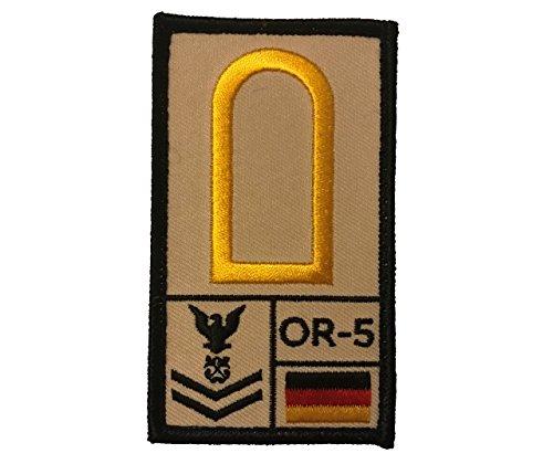 Café Viereck ® Obermaat Marine Bundeswehr Rank Patch mit Dienstgrad - Gestickt mit Klett – 9,8 cm x 5,6 cm