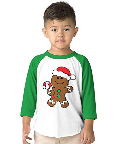 SpiritForged Apparel Christmas Gingerbread Man Toddler 3/4 Raglan Shirt, Kelly 4T