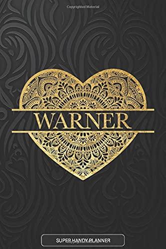 Warner: Warner Planner, Calendar, Notebook ,Journal, Gold Heart Design With...