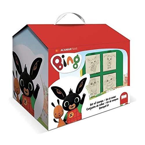 Multiprint Casetta 7 Timbri per Bambini Bing, 100% Made in Italy, Set Timbrini Bimbi Personalizzati, in Legno e Gomma Naturale, Inchiostro Lavabile Atossico, Idea Regalo, Art.09987