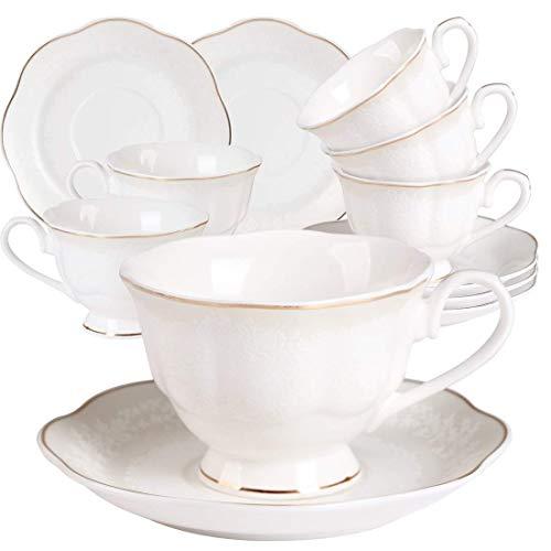 Juegos de Tazas Café Cappuccino Porcelana - 7OZ Set de Regalo de 6 Relieve con Borde Dorado Juegos De Tazas De Té Inglesa Tazas y Platoes