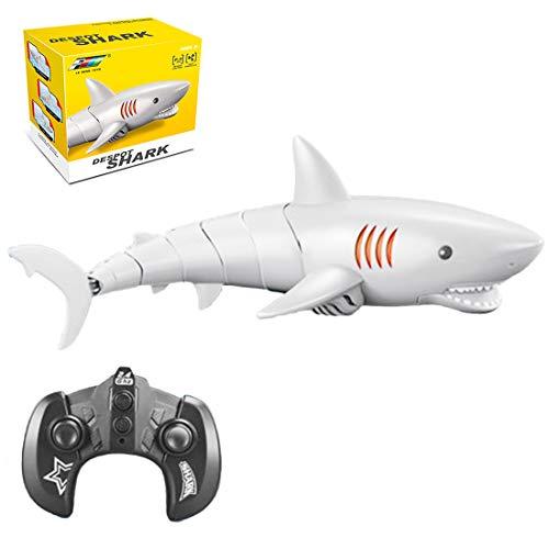 Teakpeak Boote Ferngesteuert Kinder, 2.4G 5CH RC Boot Fernbedienung Hai Spielzeug Ferngesteuert für Wasserspielzeug Badewanne, Wassertank, Schwimmbad für Kinder Erwachsene