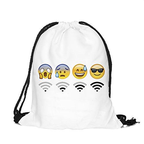 Emoji WiFi One Rucksack mit Kordelzug, Einheitsgröße, Unisex, Größe: Höhe 40 cm, Länge 33 cm