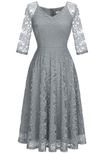 Dressystar Long-Sleeve A-Line Lace Bridesmaid Dress Midi for Wedding Formal Party L Grey