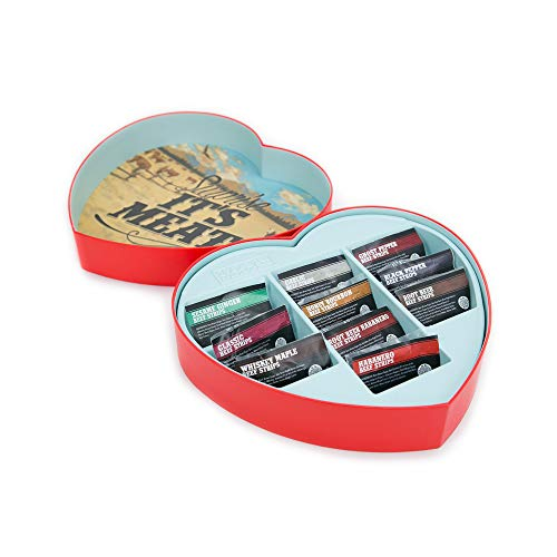 Jerky Heart – Fun, Playful Gift For Men – Includes 10 Delicious Beef Jerky Flavors Like Whiskey Maple and Honey Bourbon – In A Delightfully Surprising Heart-Shaped Box