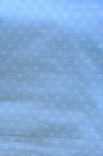 La Bortini Flanell Baumwolle L x B 100x160cm Flanellstoff Bettwäsche Babybekleidung Decke Meterware Blau mit Sterne