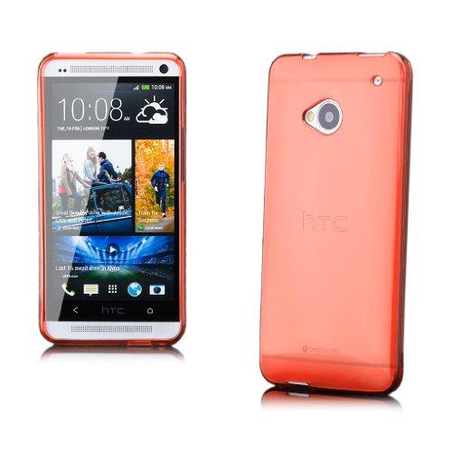 iCues HTC One M7 |  Transparent TPU Case Orange | [Display Schutzfolie Inklusive] Transparent Klarsichthülle Durchsichtig Klare Klarsicht Silikon Gel Schutzhülle Hülle Cover Schutz