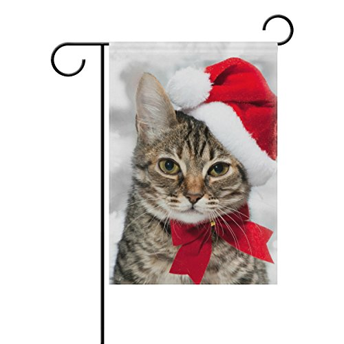 ALAZA Double Sided Christmas Cat Red Santa's Hat Merry Christmas Polyester Garden Flag Banner 12 x 18 Inch for Outdoor Home Garden Flower Pot Decor