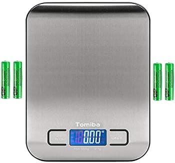 Tomiba 11lb Backlit Digital Kitchen Food Scale (Stainless Steel)