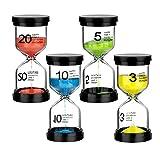 WolinTek 4 Colori Timer a Clessidra in Vetro di Sabbia, Timer dell'orologio,3 Minuti / 5 Minuti / 10 Minuti / 20 Minuti Set di Clessidra Colorati Ideali per Bambini,la Casa, Gli Sport e i Giochi