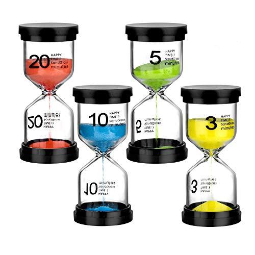 WolinTek Sanduhren mit 4 Farben Sanduhrenset 3Min/ 5Min/10Min/ 20Min Dekoration Zeitmesser Timer,gravierte Sand Uhr Timer für Kinder Klassenzimmer Küche Spiele Zuhause Büro Dekoration (4 Stück)