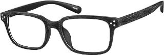 Zenni - Blokz Blue Blocker Computer Glasses | UV Filters Reduce Eyestrain | Black Woodgrain Frame | Rectangle Universal Bridge Fit | Model 2020221
