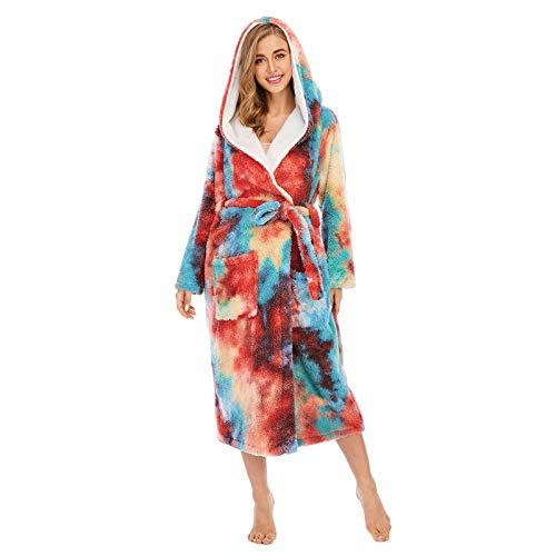 Albornoz Bata para Mujer Las mujeres Batas colorido Tie-dye coralina del paño grueso doble Bolsillos flojo con capucha de invierno Albornoz Pijamas Szlafrok Damski kimono Mujer