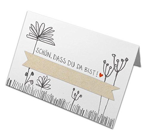 50 Tischkarten aus Recyclingpapier, klimaneutrale Namenskarten, Platzkarten zum beschriften für Hochzeit, Geburtstag, Taufe, Kommunion - Schön, dass du da bist - Vintage Blumen Design, Weiß Beige Grau
